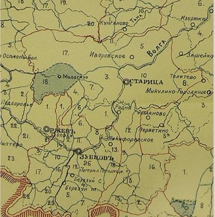 Старицкий уезд. Карта. Старицкое дворянство